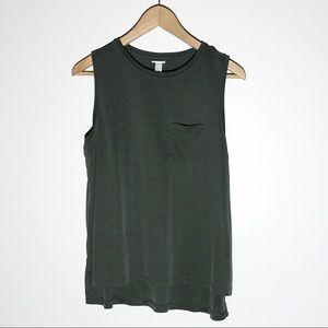 A NEW DAY sage green sleeveless high low tee SZ L